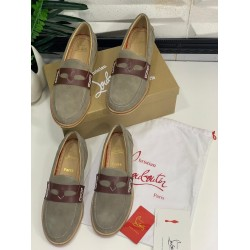 Brown Christian Louboutin Moccasin/Loafer