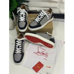 Simple Louboutin Sneakers Gray/Black